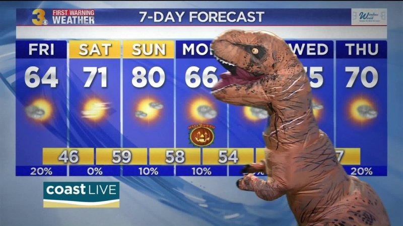Aksi Myles Henderson meramal cuaca dengan kostum dinosaurus (Foto: Myles Henderson/Twitter)