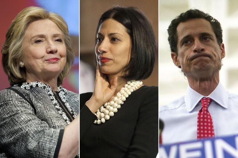 Hillary Clinton, Huma Abedin dan Anthony Weiner. (Foto: AP/Reuters)