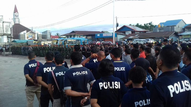 Apel gabungan TNI-Polri menjelang HUT OPM (Saldi/Okezone)