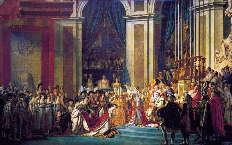 Lukisan The Coronation of Napoleon karya Jacques-Louis David menggambarkan suasana penobatan Kaisar Pertama Prancis. (Foto: Wikipedia)