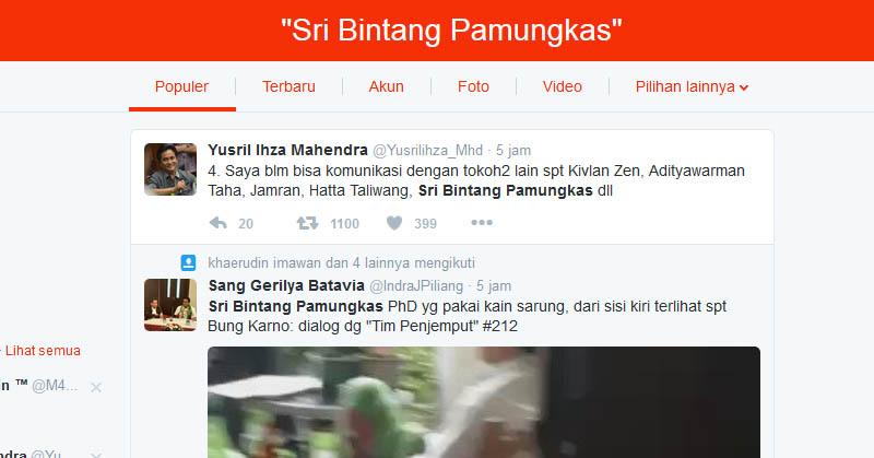 Sri Bintang Pamungkas Turut Populer di Twitter