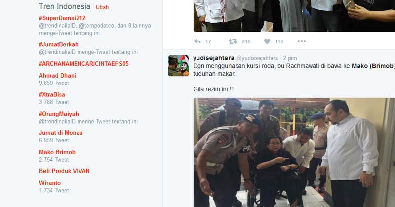 Tangkap Terduga Makar, Mako Brimob Disebut di Twitter
