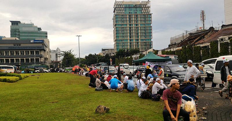 Kondisi lalin di Tugu Tani. (Foto: Rahman Asmardika/Okezone)