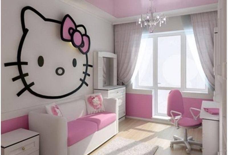 Inspirasi Kamar Hello Kitty Membuat Anak Perempuan Anda Bahagia