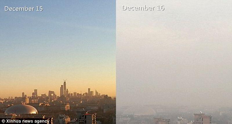 Kabut asap memenuhi Kota Beijing, China, akibat polusi parah. (Foto: Xinhua)