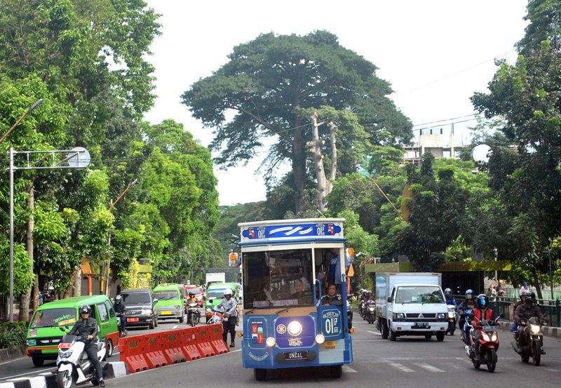 Bus pariwisata melintas di jalan Kota Bogor (Arif/Antara)