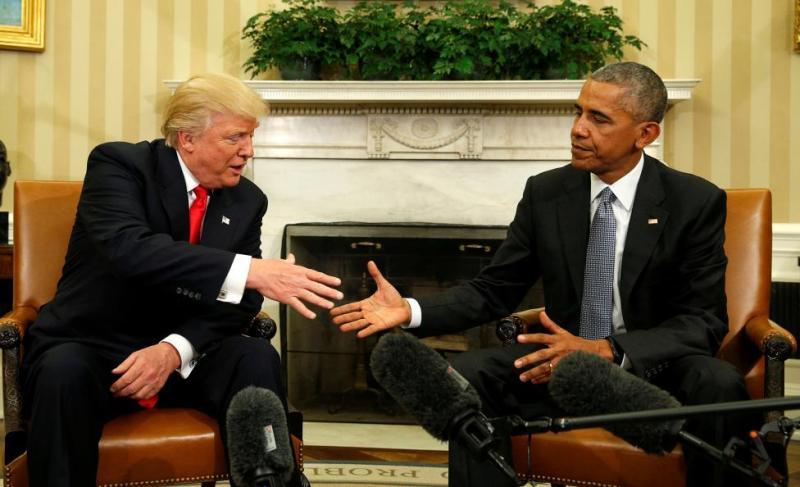 Donald Trump menemui Barack Obama di Gedung Putih beberapa hari usai Pilpres AS 2016 (Foto: Kevin Lamarque/Reuters)
