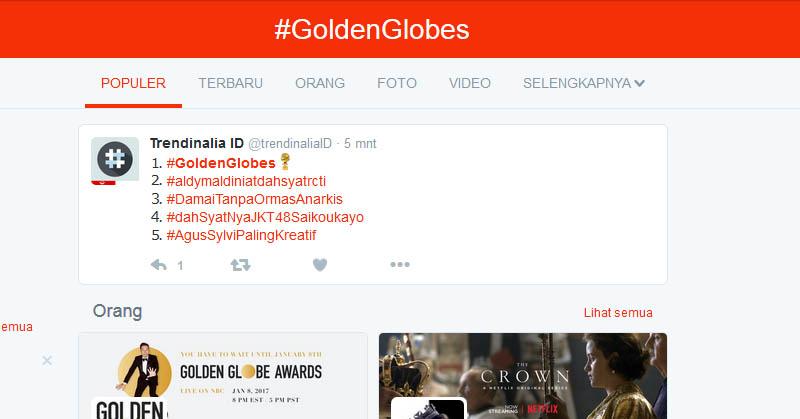 Twitter Diramaikan Gelaran Golden Globes : Okezone Techno