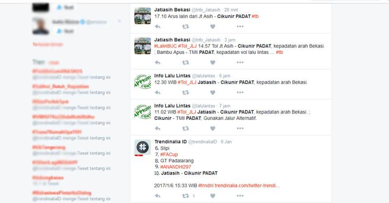 Arus Lalu Lintas Jatiasih-Cikunir Ramai di Twitter