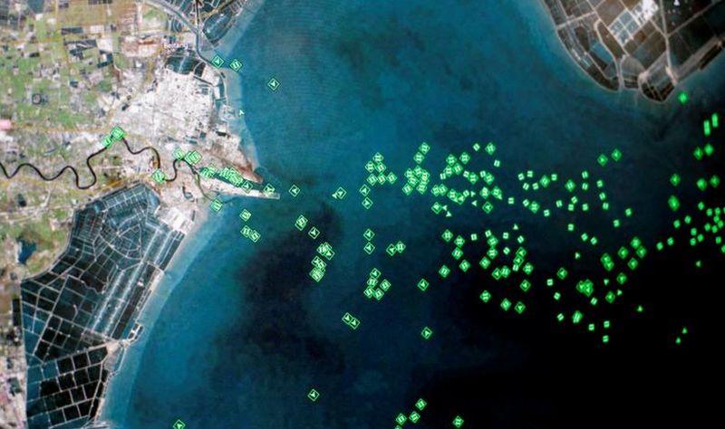 Foto Satelit Kemacetan Kapal di Pelabuhan Tianjin, China. (Foto: Reuters)