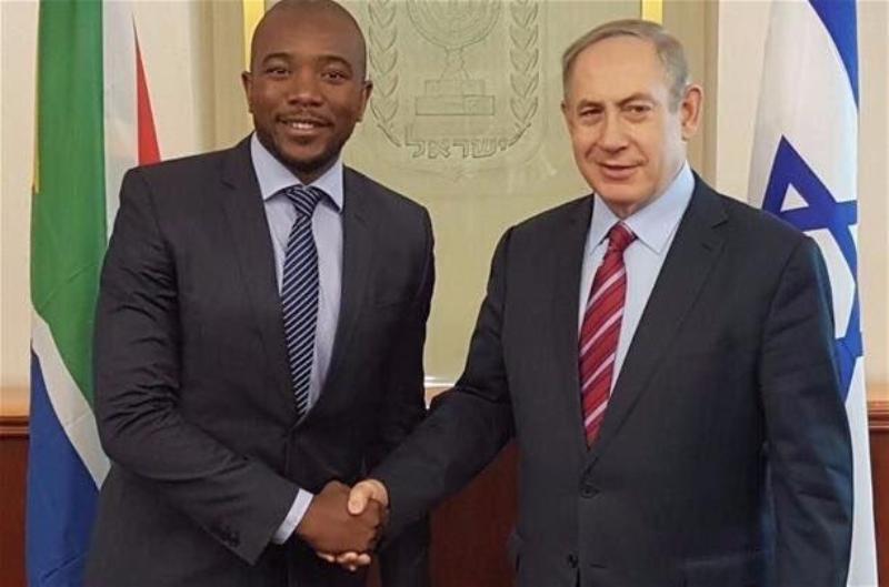 Pemimpin partai oposisi Afsel Mmusi Maimane bersama dengan PM Israel Benyamin Netanyahu. (Foto: ist)