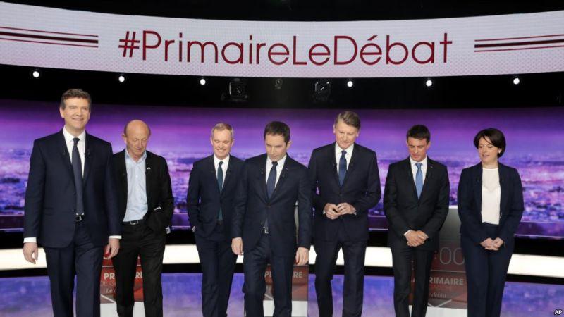 Para politisi Prancis menghadiri debat capres dari sayap kiri. (Foto: AP/VOA Indonesia)