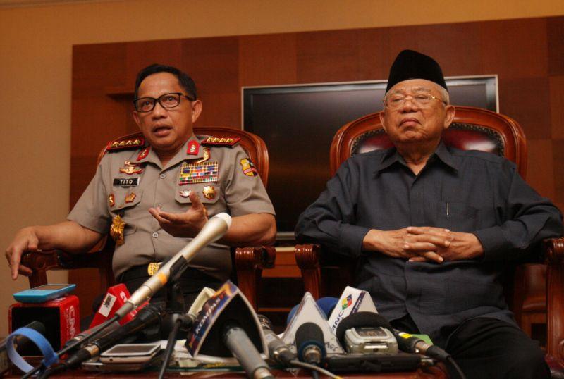 Kapolri Jenderal Tito Karnavian bersama Ketua MUI KH Makruf Amin (Foto: Antara)