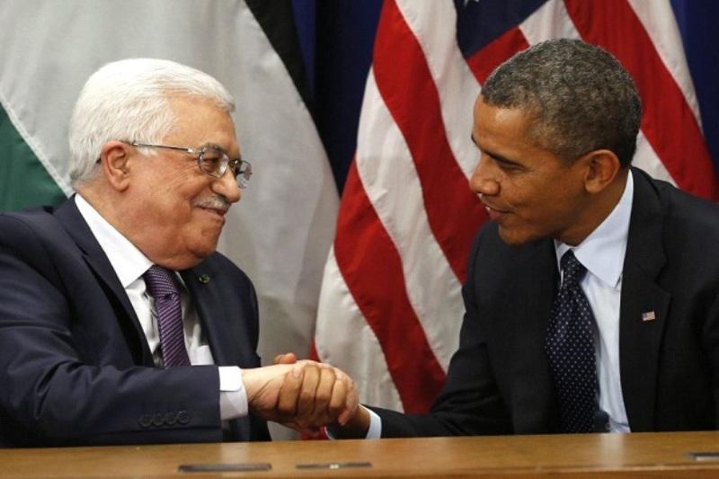 Presiden Palestina Mahmoud Abbas bersama mantan Presiden AS Barack Obama. (Foto: Reuters)