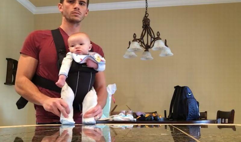 Adam Ballard Bersama Bayinya, Miles Ballard. (Foto: Viral Videos)