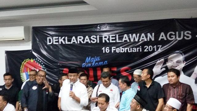 Mendapat Dukungan dari SBY, Tim Relawan Agus-Sylvi Deklarasi Dukung Anies -Sandi