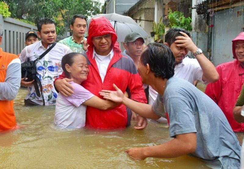 Image result for images Cegah Banjir di Cipinang Melayu, Anies Lanjutkan Proyek Tanggul Air Sunter