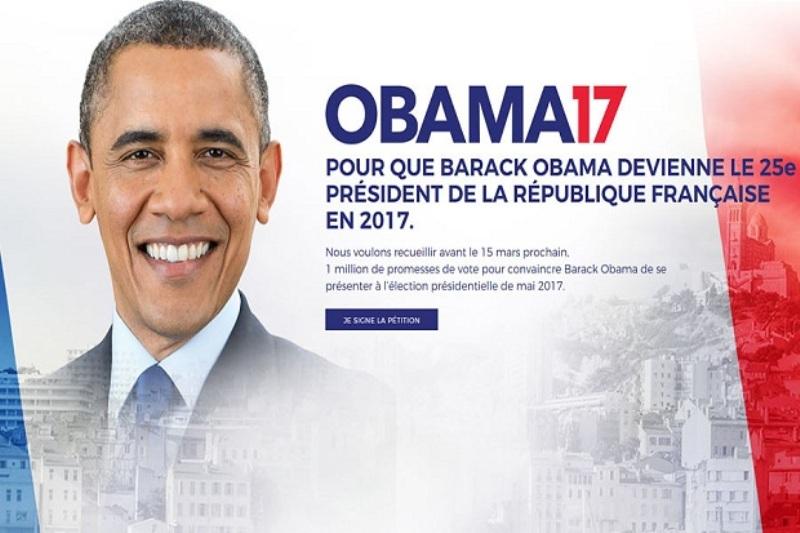 Petisi yang menginginkan Barack Obama untuk menjadi Presiden Prancis 2017 beredar. (Foto: Obama2017.fr)