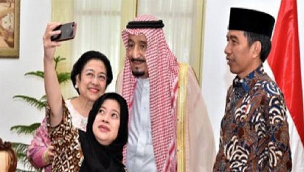 Raja Salman selfie dengan Megawati & Puan (Foto: Antara)