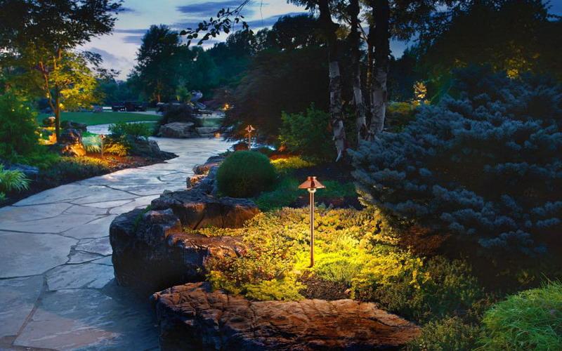 Ada Taman Cantik Di Rumah Gantung Lampu Di Pohon Agar