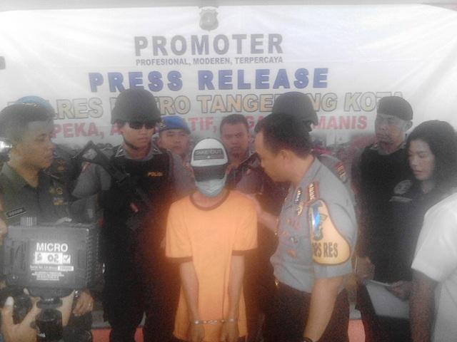 Pelaku penabrak ojek online hingga tewas di Tangerang (foto: Rikhi/Okezone)