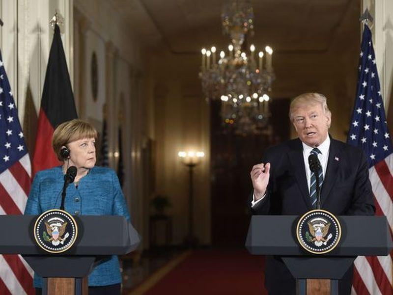 Pernyataan bersama Trump dan Merkel di Gedung Putih (Foto: AFP/Getty Images)