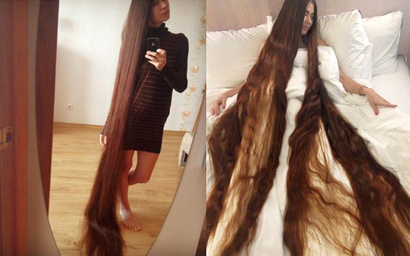 Alia Nasroya dan rambut sepanjang 2,28 meter miliknya. (Foto: Instagram Alia Nasroya/Huffington Post)