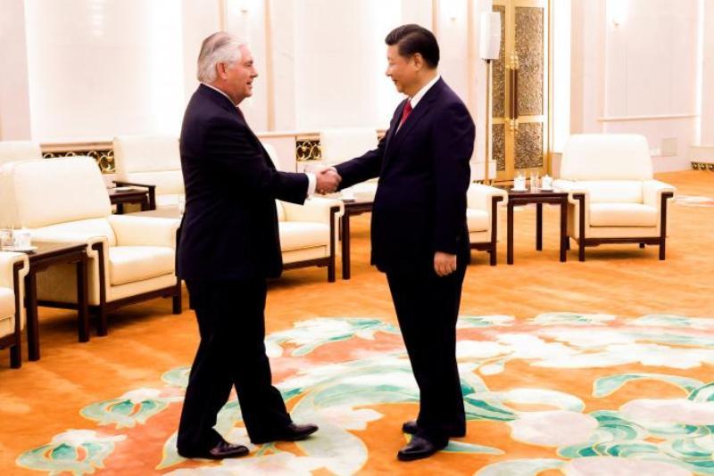 Menlu AS Rex Tillerson menuai pujian dari Presiden China Xi Jinping (Foto: Thomas Peter/Reuters)