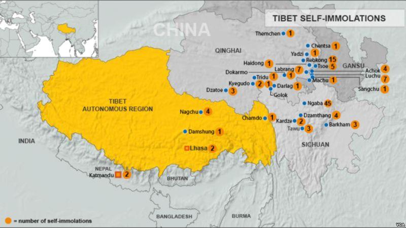Peta kasus-kasus bakar diri sebagai di Tibet maupun sekitar Tibet. (Foto: VOA)
