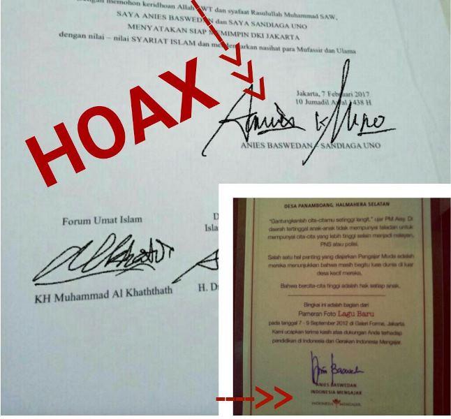 Kontrak politik syariat Islam yang tertanda tangan hoax Anies-Sandi. Foto ist
