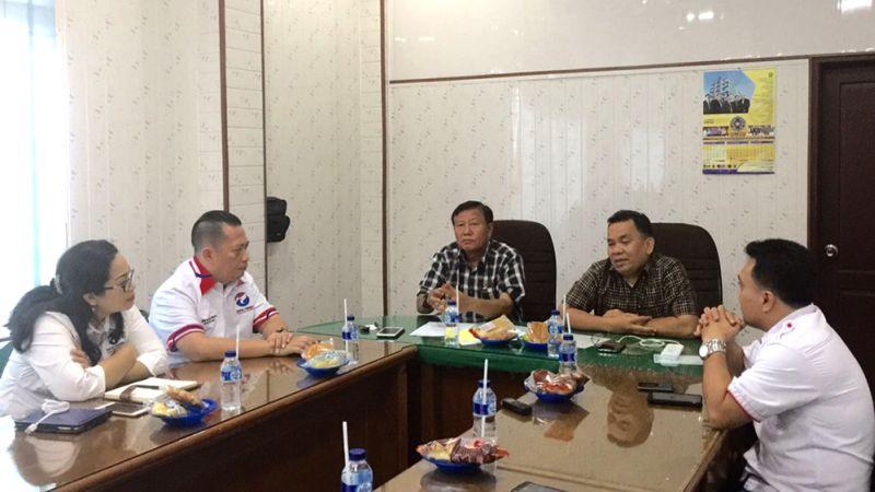 Partai Perindo Sumatera Utara berkunjung ke PW Muhamadiyah (Foto: Wahyudi Aulia/Okezone)