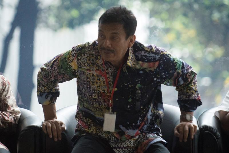 Wali Kota Madiun Bambang Irianto saat di Gedung KPK, Jakarta (Rosa/Antara)