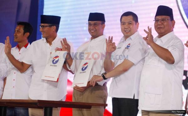 Anies-Sandi saat deklarasi dukungan Partai Perindo di Pilgub DKI (Foto: Okezone)