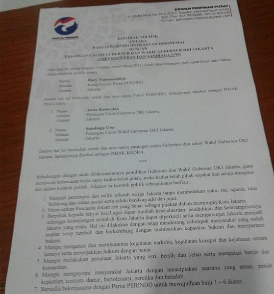 Kontrak politik Partai Perindo dengan Anies-Sandi. (Foto: @Hary_Tanoe)
