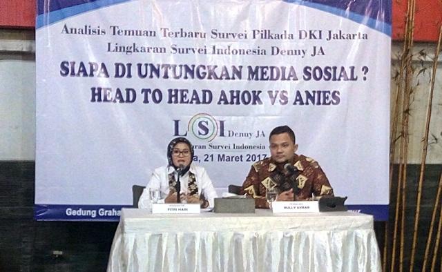 Rilis temuan survei LSI Denny JA (Foto: Fahreza Rizky)