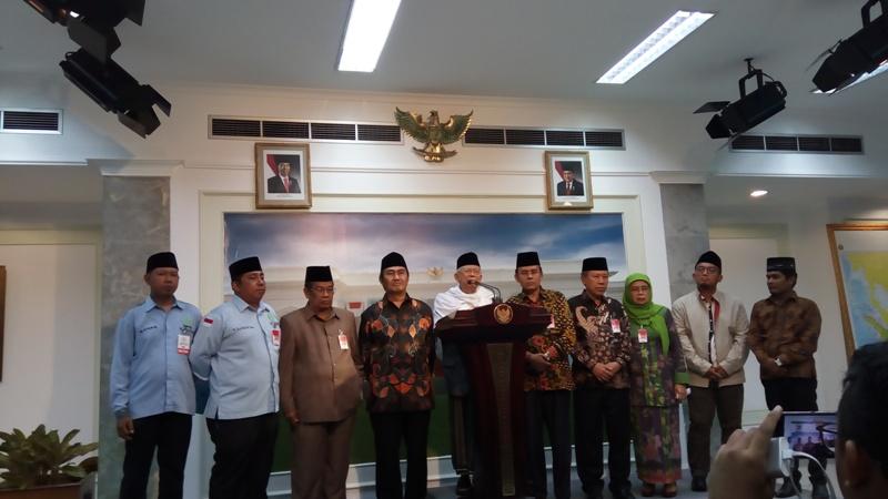 Kiai Ma'ruf Amin di Kantor Presiden (Foto: Fakhri/Okezone)