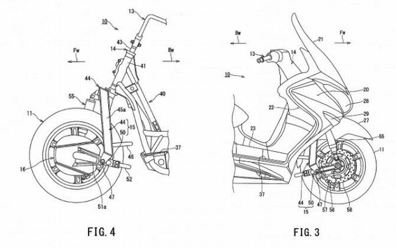 Suzuki patenkan skuter hybrid dengan motor listrik penggerak roda depan (Kantor Paten dan Merek Dagang AS)