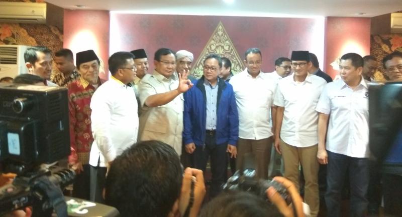Prabowo Bersama Sejumlah Tokoh Gelar Konsolidasi Pemenangan Anies-Sandi (Foto: Badri/Okezone)
