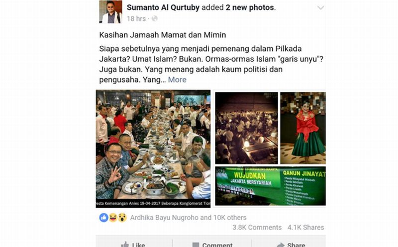 Akun Facebook Sumanto Al Qurtuby menyebarkan foto yang memperlihatkan seolah-olah ada pesta kemenangan Anies-Sandi dengan para konglomerat. (Foto: istimewa)