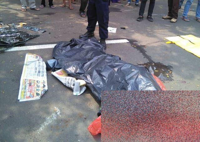 Pengemudi ojek online tewas ditabrak mobil di Tangsel (Foto: Hambali)