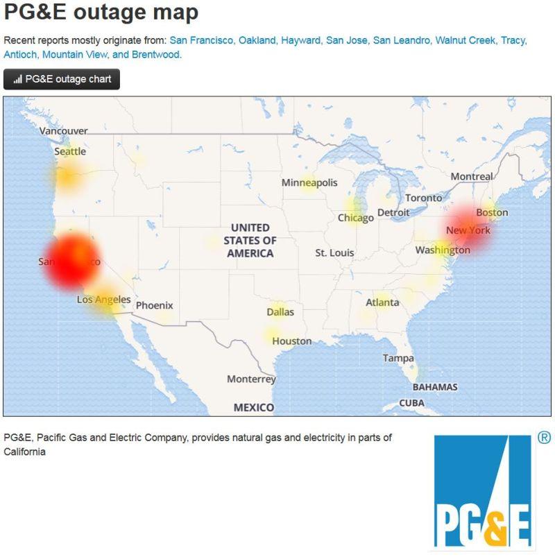 Peta lokasi yang dilanda pemadaman listrik (Foto: Pacific Gas & Electric/Twitter)