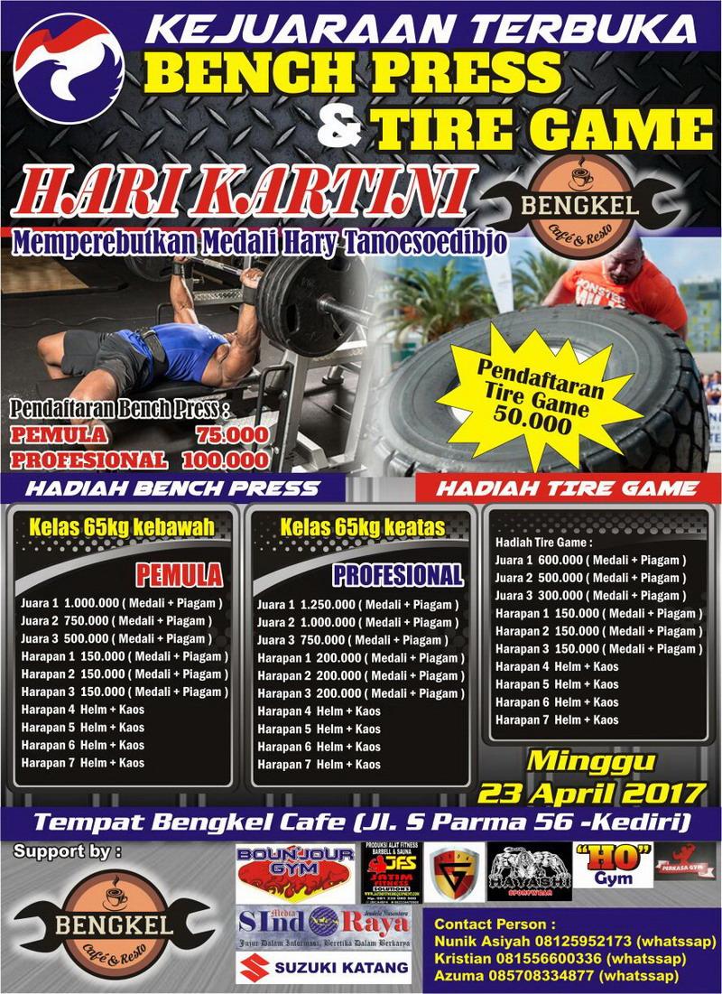 Kartini Perindo Kabupaten Kediri Gelar Turnamen Bench Press dan Tire Game