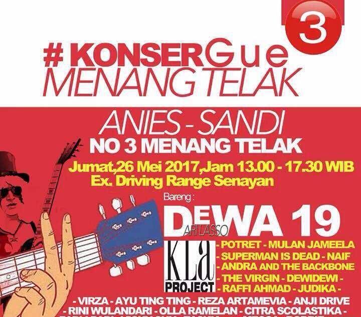 Tim Pemenangan Tegaskan 'Konser Gue Menang Telak Anies-Sandi' Hoax!