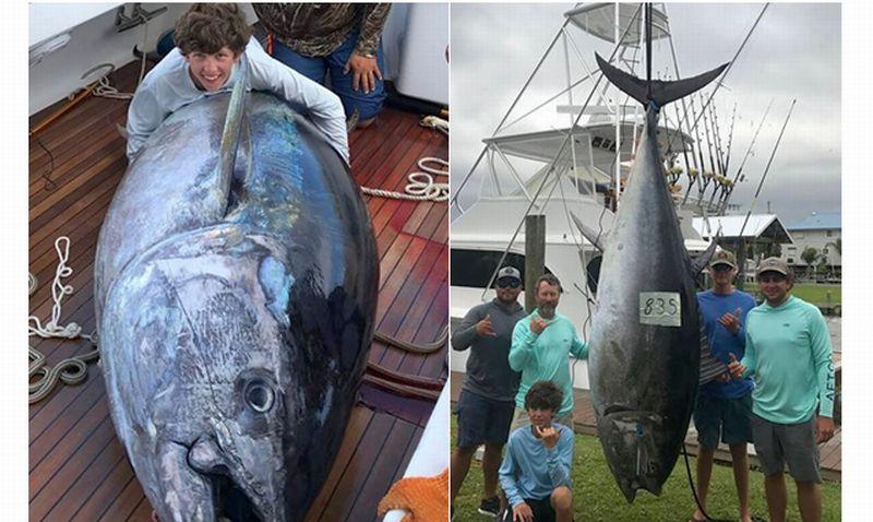 Kaleb Richardson (kiri) menangkap ikan tuna raksasa seberat 378 kg. (Foto: Facebook Whoo Dat Sportfishing)