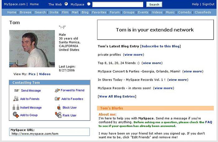 akun MySpace Tom (Foto: Ist)