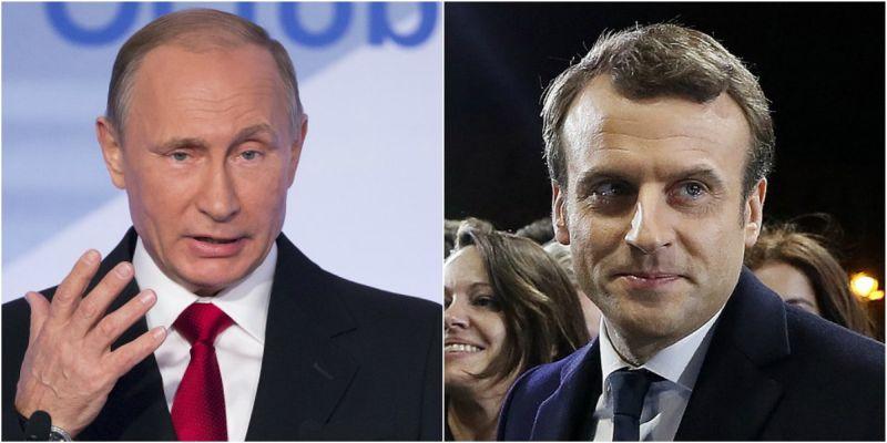 Foto Presiden Rusia Vladimir Putin dan Presiden Prancis Emmanuel Macron (Foto: AP/AFP)