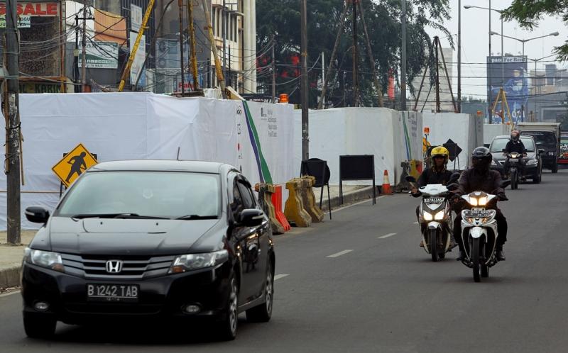 Pembangunan proyek MRT di Jalan Panglima Polim Raya. Foto dok Okezone