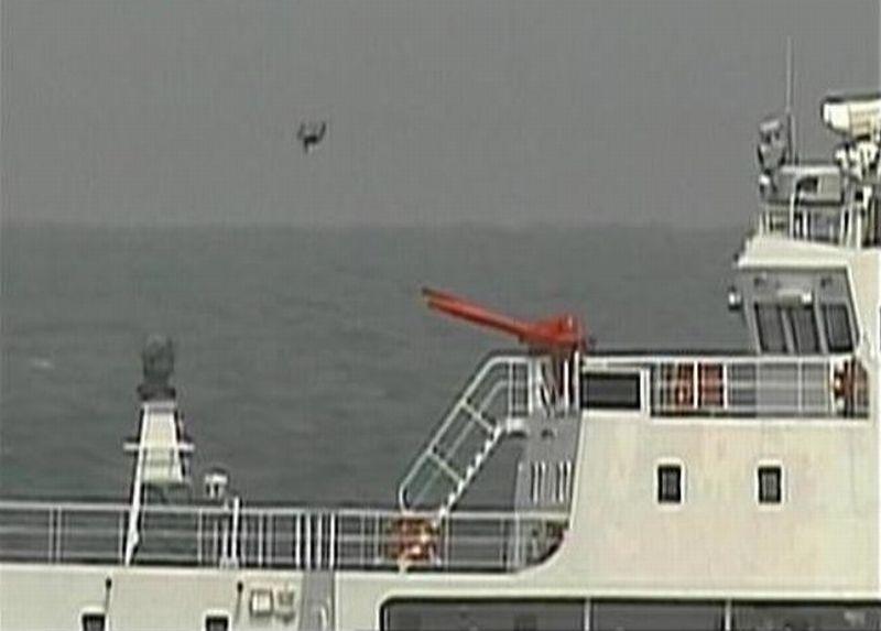Foto penampakan drone yang terbang di atas kapal Coast Guard China di perairan dekat Senkaku (Foto: Kyodo/Japan Times)
