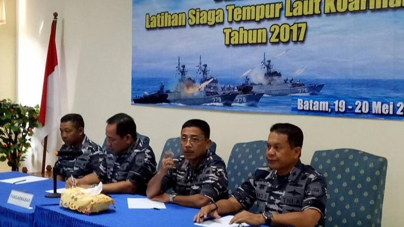 Konferensi pers soal latihan tempur di Selat Malaka (foto TNI AL/Okezone)