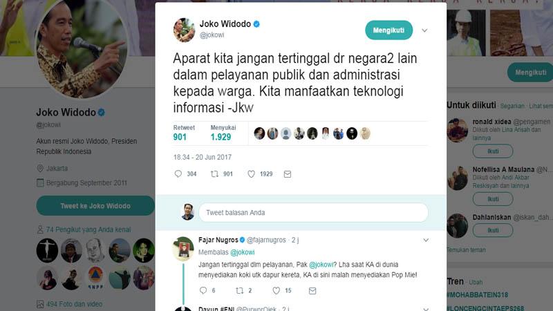 Diposting 2 Jam, Tweet Jokowi Disuka 1.929 Netizen
